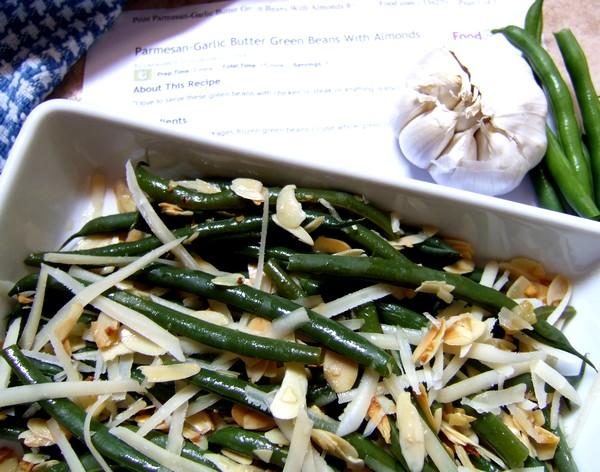 Parmesan-Garlic Butter Green Beans With Almonds