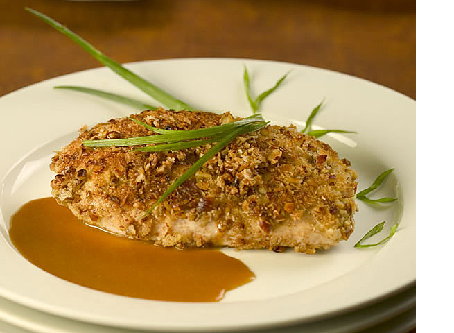 Pecan Chicken With Bourbon Sauce