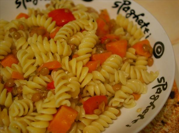 Penne With Rustic Lentil Sauce