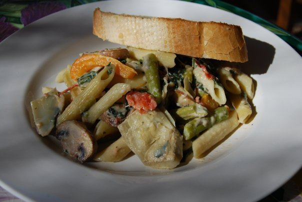 Penne with Spring Vegetables - Recipegreat.com