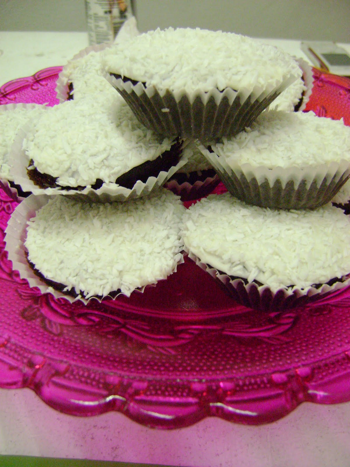 Pink Hazelnut and Coconut Cupcakes