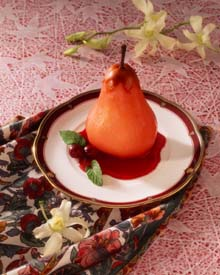 Poached Pears with Cranberry Sauce
