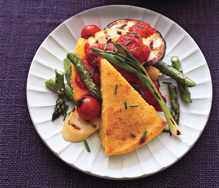 Polenta and Grilled Vegetables With Roasted Red Pepper Sauce