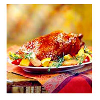 Pomegranate-and-Plum Glazed Duckling