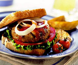 Pork Patties with Tangy-Sweet Barbecue Sauce