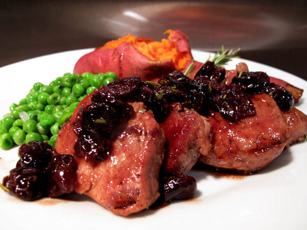 Pork Tenderloin Medallions With Port and Dried Cherry Sauce