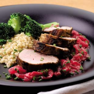 Pork Tenderloin With Sweet Onion-Rhubarb Sauce