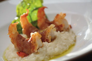 Prosciutto Wrapped Shrimp Risotto