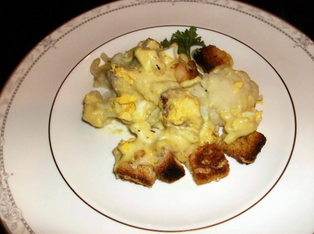 Quick and Easy, Lightly Curried Cauliflower and Egg Cheese