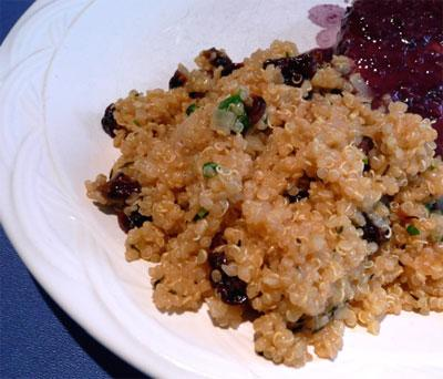 Quinoa Stuffing With Leeks, Walnuts and Cherries