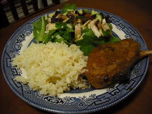 Rice and Honey Pork Chops