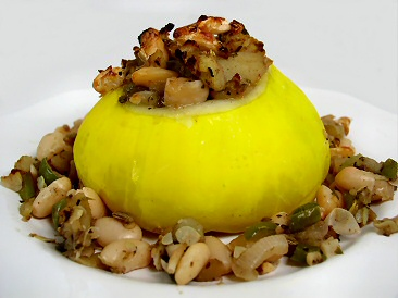 Rice Stuffed Sunburst / Patty Pan Summer Squash