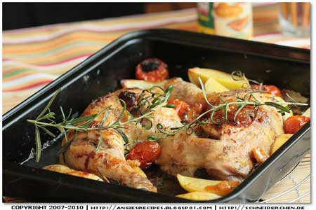 Roasted Chicken Thighs, Baby Potatoes & Tomatoes with Olives & Mint