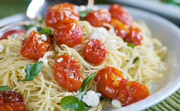 Roasted Tomato, Basil, and Feta Pasta