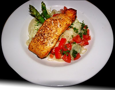 Salmon with Cappellini