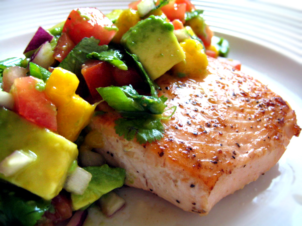 Salmon with Mango and Brie