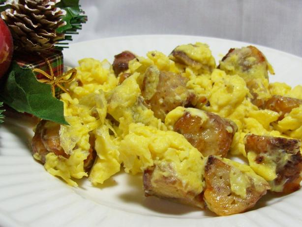 Sausage and Cheese Balls Breakfast Scramble