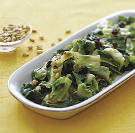 Sauteed Escarole with Raisins, Pine Nuts, and Capers