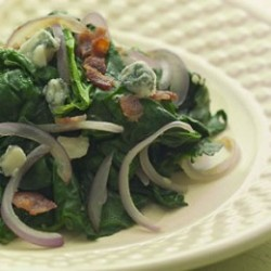 Sauteed Spinach With Red Onion, Bacon & Blue Cheese