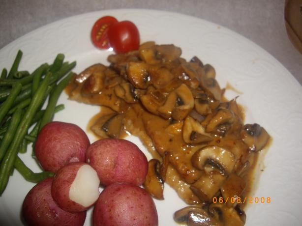 Sauteed Veal With Shrimp, Mushroom, and Brandy Cream Sauce