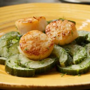Seared Scallops with Sauteed Cucumbers