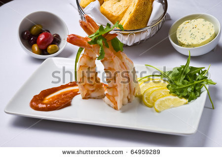 Shrimp With White Cocktail Sauce