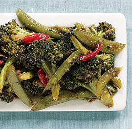 Spicy Asian Roasted Broccoli & Snap Peas