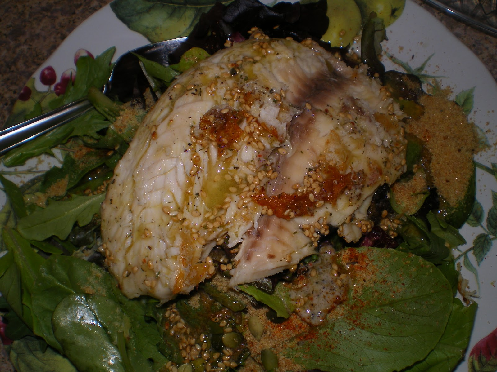 Spicy Tilapia over Mixed Greens
