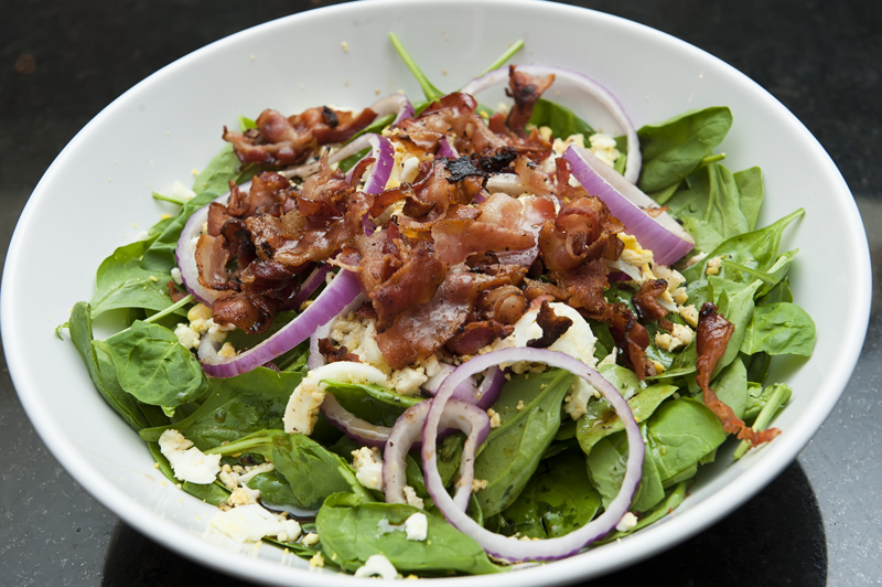 Spinach Salad with Honey Bacon Dressing