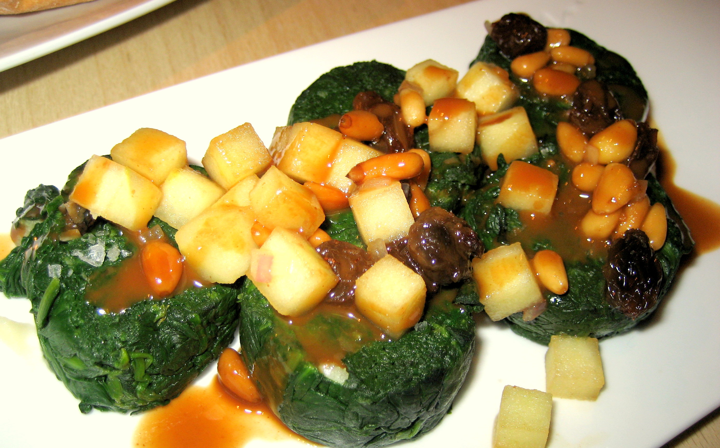 Spinach with Apples and Pine Nuts