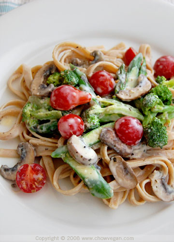 Spring Vegetable Fettuccine - Recipegreat.com