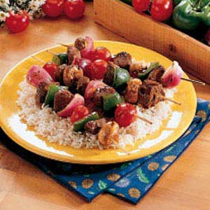 Teriyaki Beef Kababs and Spinach Rice