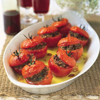 Tomatoes Stuffed With Spinach and Cheeses