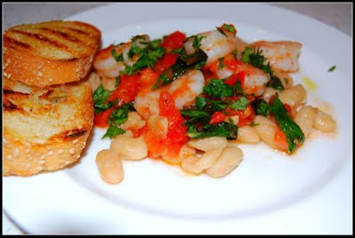 Tuscan Shrimp With White Beans, Tomatoes and Basil