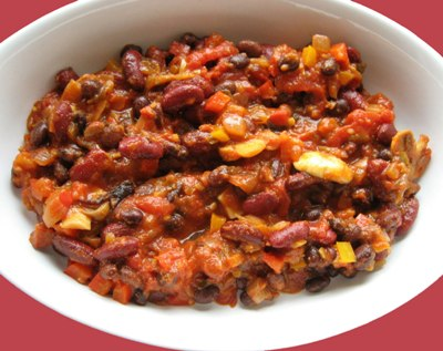 Two Bean Vegetable Chili - Recipegreat.com