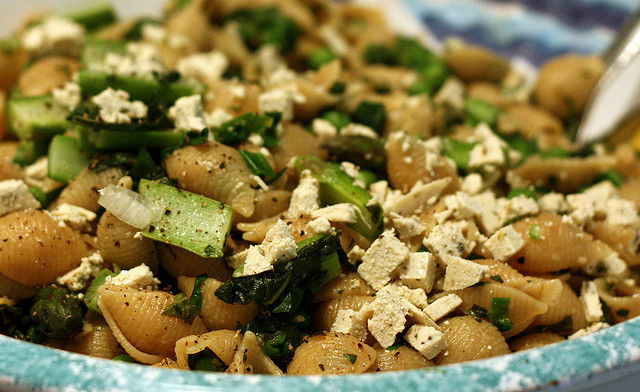 Whole-Wheat Shells with Asparagus, Peas, Feta, and Mint