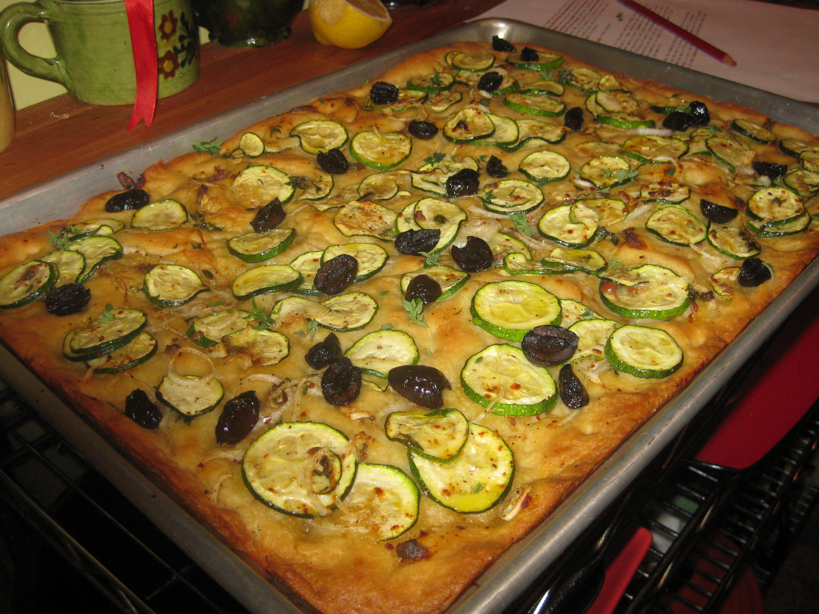 pizza dough focaccia pizza with zucchini tomatoes and arugula recipe ...